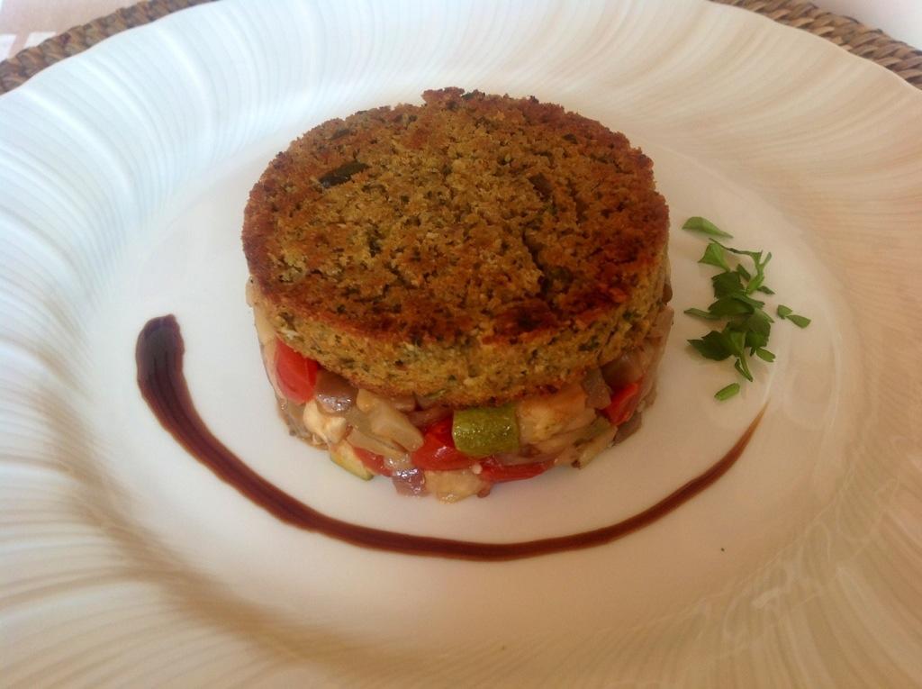 hamburger di seitan con verdure in agrodolce
