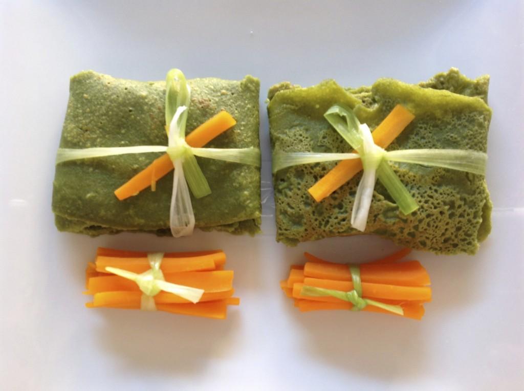pacchetti verdi con robiola e julienne di carote