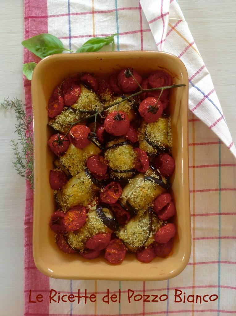 involtini di melanzana con ricotta alle erbe e pomodori caramellati
